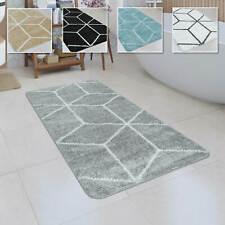 Badematte Kurzflor Teppich Badezimmer Karo Rauten Geometrisch Skandi Muster