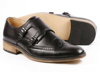 """Black Men's Wing Tip Monk Strap Oxford Dress Shoes """"PREOWNED"""""""