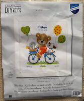 Cycling Little Bear Birth Announcement Vervaco Counted Cross Stitch Kit 14 Ct