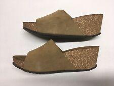 Mila Paoli  Suede Leather Wedge Slide Sandals Sz 7.5 Italia
