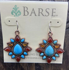 Copper- Ss Ear Wires- Nwt Barse Boho Babe Earrings- Mixed Stones-