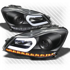 For 12-14 W204 C-Class Black Light-Tube-DRL Pro Headlights w/LED Turn Signal