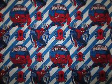 Spiderman Spider Man Super Heroes Comics Striped Cotton Fabric BTHY