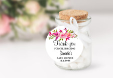 10 White Gift Tags baby shower Bomboniere Personalised Thank you floral Circle