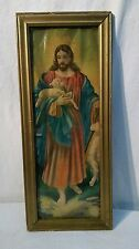 vtg ANTIQUE Lithograph wood chalk FRAME Jesus Shepherd with Lamb 1906