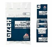 Gizeh Slim Filter Tips Charcoal Active System Box of 20 bags 6mm 120 Tips Filter