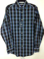 Hart Schaffner Marx Shirt New Men's Small S 100% Cotton Grey / Blue MSRP: $98.50