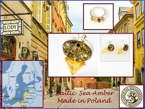 Polish Amber Baltic Amber Ring and  Sterling Silver Green and Yellow  Earrings