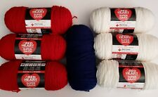 "Lot of 7 Red, White, Blue ""Red Heart Super Saver"" Yarn Sewing Crafts"