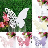 50Pcs Hollow Butterfly Place Card Wedding Party Card Wine Glass Table Cup Decor