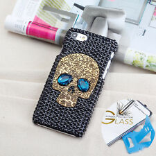iphone 7 8 Plus Case Skull Handmade Bling Cover +  Glass Protector & Stand