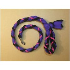 New listing Handmade Dog Leash Fleece and Paracord with Clasp Purple over Black with Fuchsia