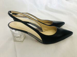 MARC FISHER size 7.5 black leather slingback shoes lucite heel New