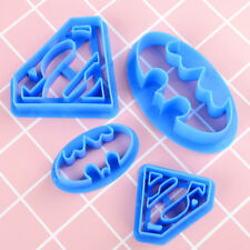 4 x Cookie Biscuit Cutter Mold Plastic DIY Baking Tool Superman Spider-Man Shape
