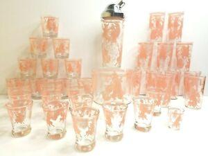 36 Hazel Atlas Musical Dancing Pink Pig MCM Bucket Shaker Tumbler Rocks Glasses