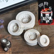 4PCS Car Wheel Silicone Fondant Mould Cake Chocolate Decor Sugar Gum Paste Mold