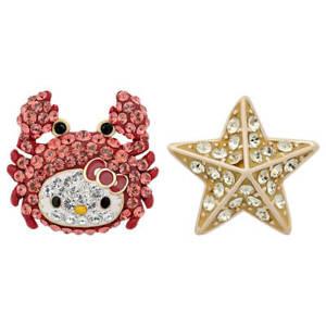 New Authentic Swarovski Hello Kitty Pave Crystal Crab & Starfish Mismatch Studs