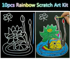 10pcs Rainbow Scratch Art Kit Colourful Magic Painting Paper with Drawing Stick