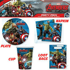 AVENGERS PARTY SUPPLIES PARTY PACK OF40, 8PLATES, 8 CUPS, 16 NAPKINS, 8LOOT BAGS