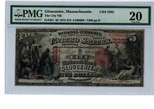 1875 $5 National Banknote  City NB  Gloucester, MA  Ch #2292  PMG20  20C-804