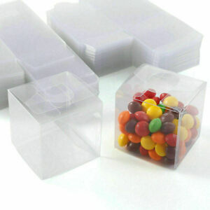 100PCS Wedding Favor Boxes Plastic Sweet Transparent PVC Cube Gift Candy Bags