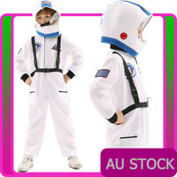 Boys Astronaut Costume White Space Man NASA Suit Uniform Child Kids Book Week