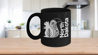 North Dakota Mug Black Coffee Cup Gift for Great Plains Prairie Grasses Bad Land