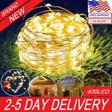 ip65 400 LED Battery Powered Micro Rice Wire Copper Fairy String Lights Party US