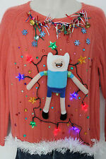 Ugly Christmas Sweater Adventure Time Womens SIZE Large Lights Up  #15D81