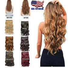 One Piece(5 Clips) Clip-on Synthetic Long Wavy Curly Human Hair Extensions USA