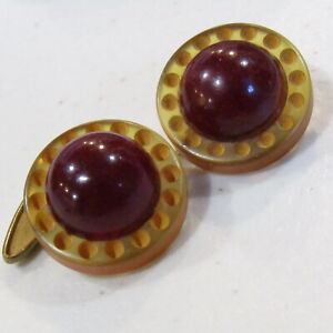 Mid 1930's Carved BAKELITE Cufflinks Translucent Iced Tea Tested RARE Design