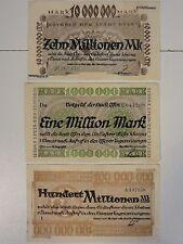 NOTGELD Banknote Stadt ESSEN 1,10,100 Millionen  3 different     Nr.370