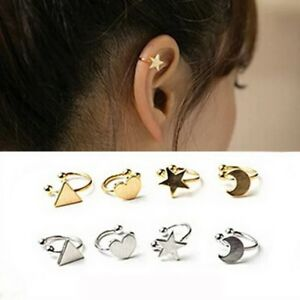 1pc Womens Ear Cuff Earrings Helix Cartilage Stud Fake Clip On Silver Gold Xmas