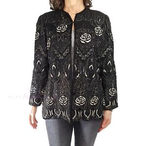 Vintage RICHILENE Sz 16 XL/1X Black Embroidered Intricately Beaded Sequin Jacket