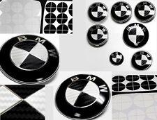 BLACK & WHITE CARBON FIBER Complete Set of Vinyl Sticker Overlay All BMW Emblems