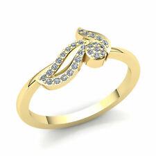 Right Hand Ring 14K Gold 0.2ctw Round Diamond Ladies Leaf Cluster