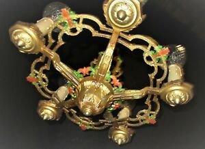 ANTIQUE / VTG ART DECO CAST METAL CEILING HANGING LIGHT CHANDELIER FIXTURE 1930