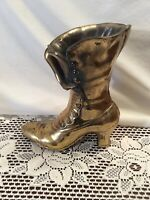Vintage Metal FLower Vase in Shape of Victorian Ladies' Boot, gold-colored paint