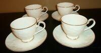 (4) Noritake HALLS OF IVY (gold trim) Cups & Saucers