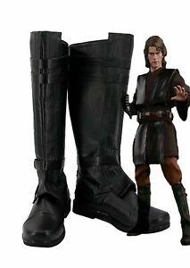 Star Wars Anakin Skywalker Cosplay Shoes Black Boots :45