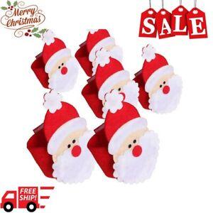 Christmas Santa Claus Napkin Rings Serviette Holder Christmas Table Decorations