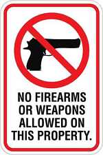 No Firearms On Property - 12 x 18 A Real Sign. 10 Year 3M Warranty.