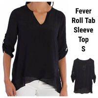 New Fever Small Blouse Top Tunic Shirt Blouse Black Sheer V-Neck Roll Tab Sleeve