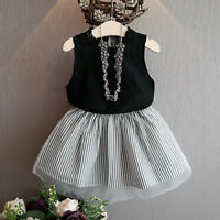 Baby Kids Girl Princess Dress Sleeveless Blouse T-shirt + Skirt Tutu Dresses Hot