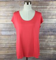 Three Dots Women's Scoop Neck Top Sz Medium Short Cap Sleeve Orange