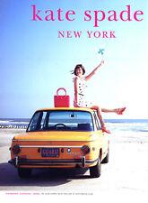 2010 Kate Spade woman in dot dress car beach MAGAZINE AD