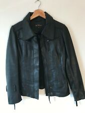 BEN SHERMAN black leather zip up collared jacket - Size XS New £800