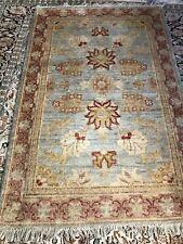 Hand Made Rug Traditional Oriental Blue Carpet Wool Medium Size