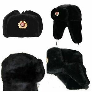 Russian Soviet Army USSR Badge Real Military Fur Soldiers Ushanka Headwear