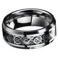 Fashion Silver Celtic Dragon Titanium Stainless Steel Men's Wedding Band Ring